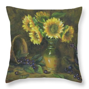 Throw Pillow featuring the painting Sunflowers by Katalin Luczay