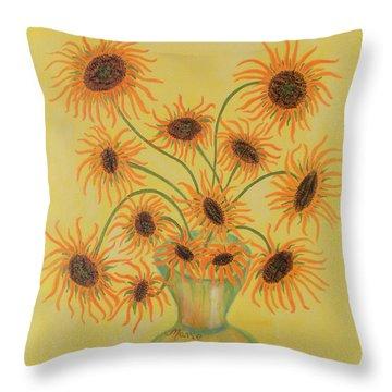 Sunflowers Throw Pillow by Marie Schwarzer