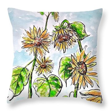Throw Pillow featuring the painting Sunflowers by Monique Faella