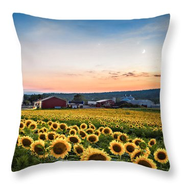 Sunflowers, Moon And Stars Throw Pillow by Eduard Moldoveanu