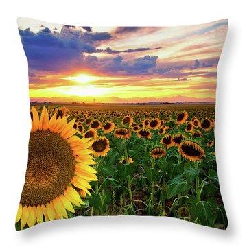Sunflowers Of Golden Hour Throw Pillow