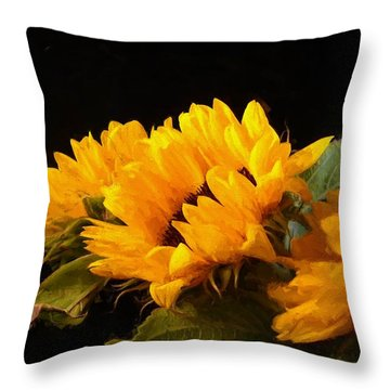 Sunflowers On A Black Background Throw Pillow