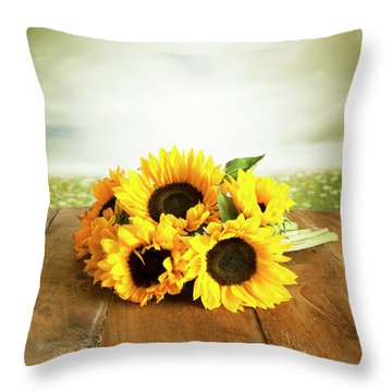 Sunflowers On A Table Throw Pillow