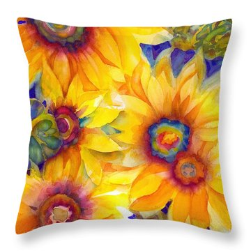 Sunflowers On Blue II Throw Pillow