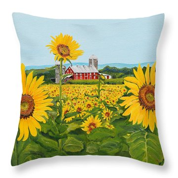 Sunflowers On Route 45 - Pennsylvania- Autumn Glow Throw Pillow