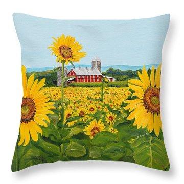 Sunflowers On Route 45 - Pennsylvania- Autumn Glow Throw Pillow