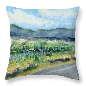 Sunflowers On The Way To The Great Sand Dunes Throw Pillow by Holly Carmichael