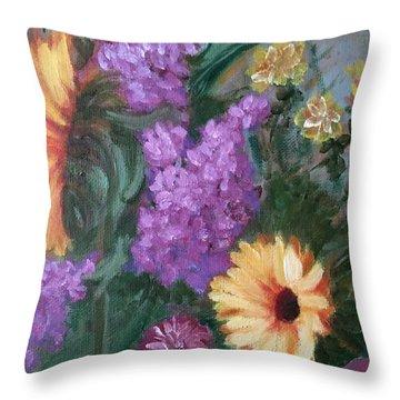 Sunflowers Throw Pillow by Sharon Schultz