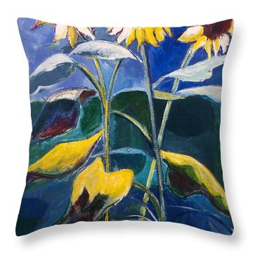 Sunflowers Standing Tall Throw Pillow by Betty Pieper