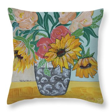 Throw Pillow featuring the painting Sunflowers Three by Robin Maria Pedrero