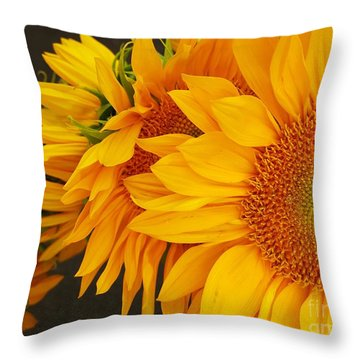 Sunflowers Train Throw Pillow by Jasna Gopic