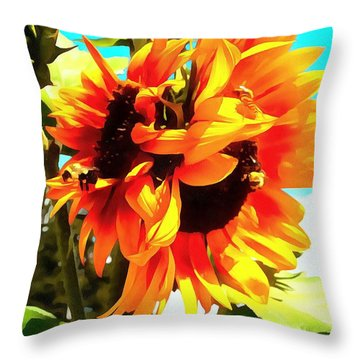 Throw Pillow featuring the photograph Sunflowers - Twice As Nice by Janine Riley