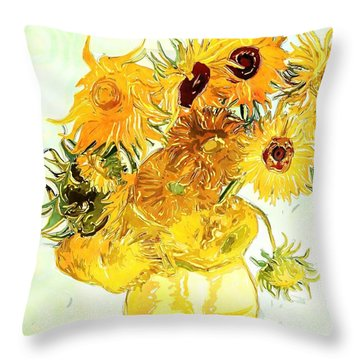 Sunflowers Van Gogh Throw Pillow