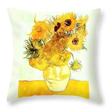 Sunflowers - Van Gogh Throw Pillow