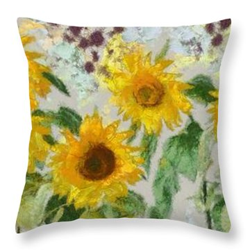 Sunflowers Wide Throw Pillow