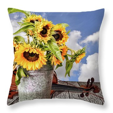 Sunflowers With Violin Throw Pillow