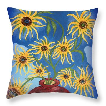 Sunflowers On Navy Blue Throw Pillow