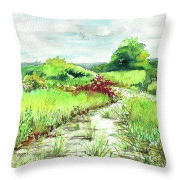 Throw Pillow featuring the painting Sunken Meadow, September by Susan Herbst