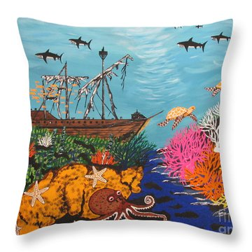 Sunken Treasure Ship Throw Pillow