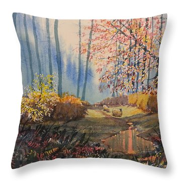 Sunlight And Sheep In Sledmere Woods Throw Pillow