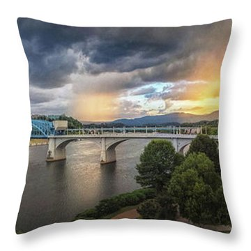 Sunlight And Showers Over Chattanooga Throw Pillow by Steven Llorca