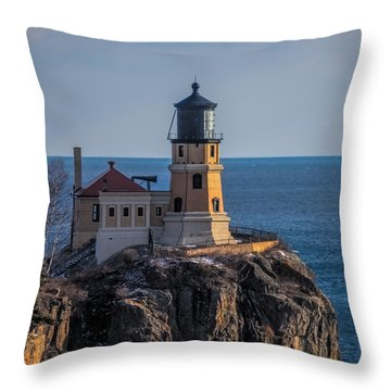 Sunlight On Split Rock Lighthouse Throw Pillow by Paul Freidlund