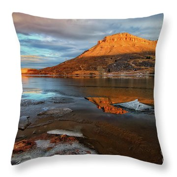 Sunlight On The Flatirons Reservoir Throw Pillow