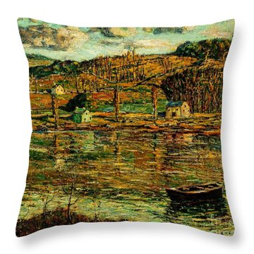 Throw Pillow featuring the painting Sunlight On The Harlem River 1919 by Peter Gumaer Ogden