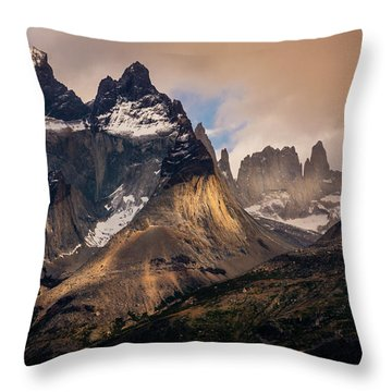 Sunlight On The Mountain Throw Pillow by Andrew Matwijec