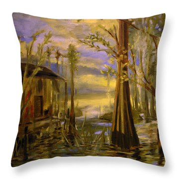 Sunlight On The Swamp Throw Pillow