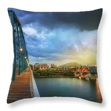 Sunlight Thru Rain Over Chattanooga Throw Pillow