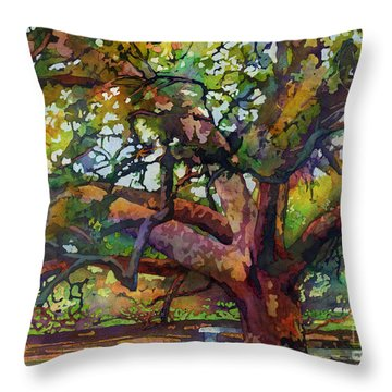 Sunlit Century Tree Throw Pillow by Hailey E Herrera