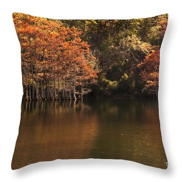 Throw Pillow featuring the photograph Sunlit Cypress Trees On Beaver's Bend by Tamyra Ayles