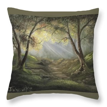 Sunlit Forrest  Throw Pillow