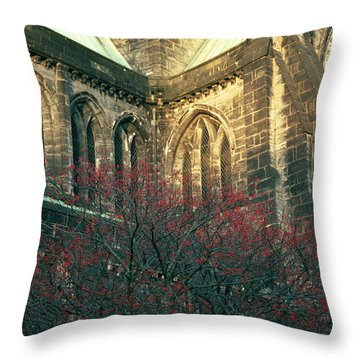 Sunlit Glasgow Cathedral Throw Pillow