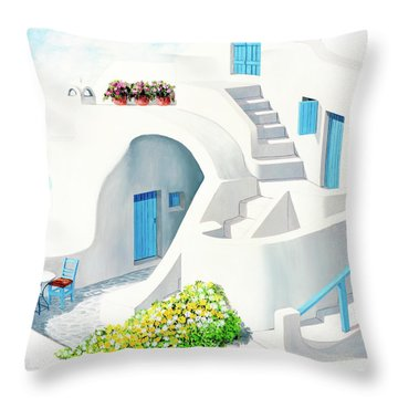 Sunlit In Santorini - Prints Of My Original Oil Painting Throw Pillow