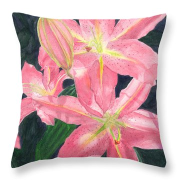 Sunlit Lilies Throw Pillow