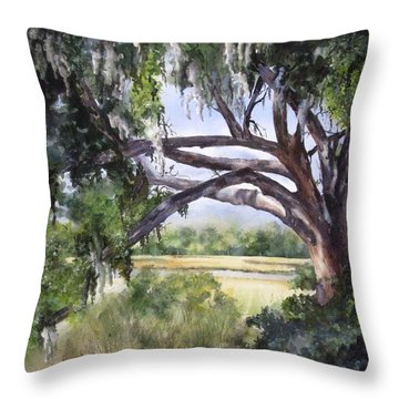 Throw Pillow featuring the painting Sunlit Marsh by Mary McCullah