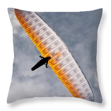 Sunlit Paraglider Throw Pillow