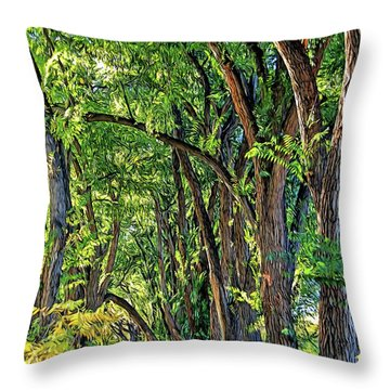 Sunlit Path Throw Pillow by Gina Savage