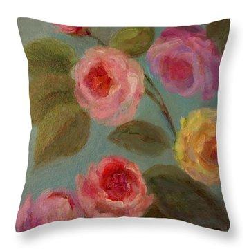 Sunlit Roses Throw Pillow