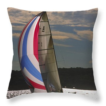 Sunlit Sails - Lake Geneva Wisconsin Throw Pillow