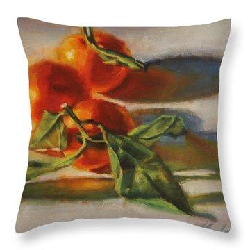 Sunlit Satsumas Throw Pillow
