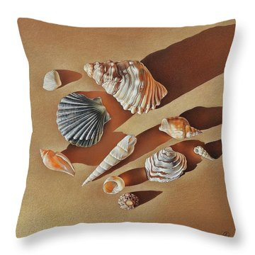 Sunlit Shells Throw Pillow