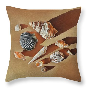 Throw Pillow featuring the drawing Sunlit Shells by Elena Kolotusha
