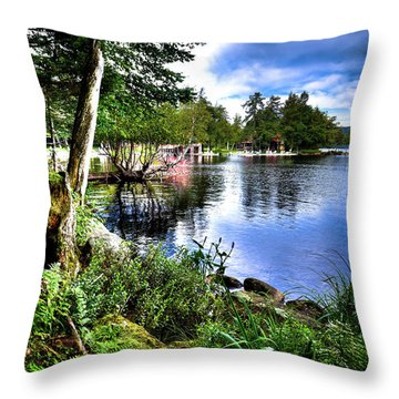Throw Pillow featuring the photograph Sunlit Shore At Covewood by David Patterson