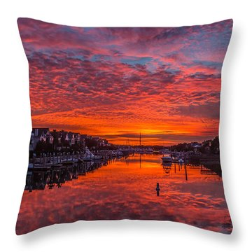 Sunlit Sky Over Morgan Creek -  Wild Dunes On The Isle Of Palms Throw Pillow