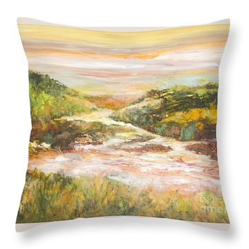 Sunlit Stream Throw Pillow by Glory Wood