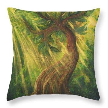 Sunlit Tree Throw Pillow