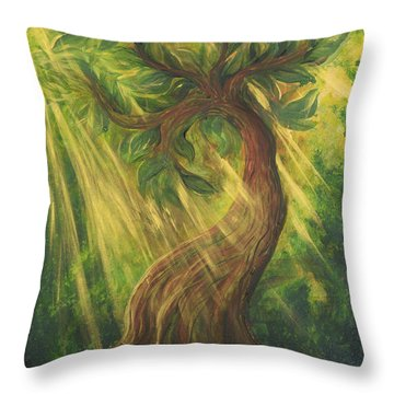 Sunlit Tree Throw Pillow